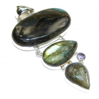 Incredible Fire Labradorite .925 Sterling Silver handmade Pendant