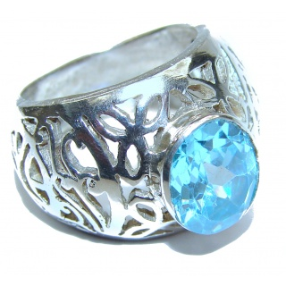 Energizing Swiss Blue Topaz .925 Sterling Silver handmade Ring size 7 3/4