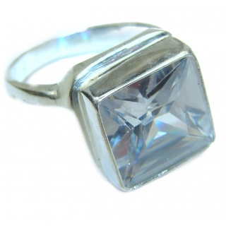 White Cubic Zirconia .925 Sterling Silver handmade Ring s. 11 1/2