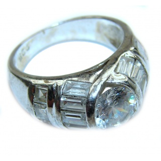 Huge White Topaz Sterling Silver ring; s. 6