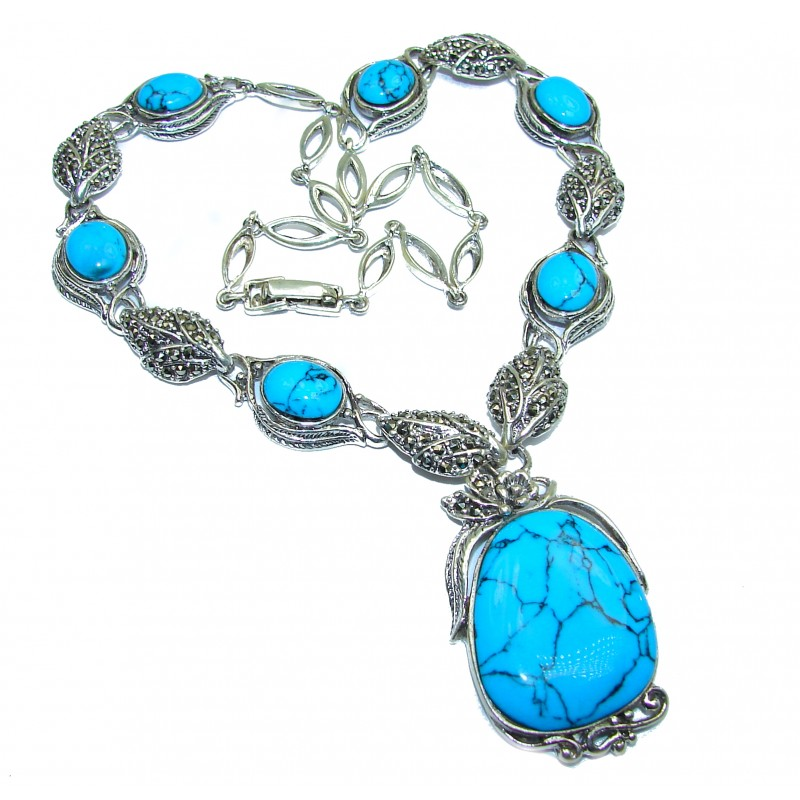 Gallery Masterpiece Blue genuine Turquoise .925 Sterling Silver necklace