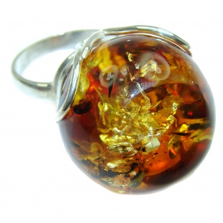 MASSIVE Genuine Baltic Polish Amber .925 Sterling Silver handmade Ring size 7 adjustable