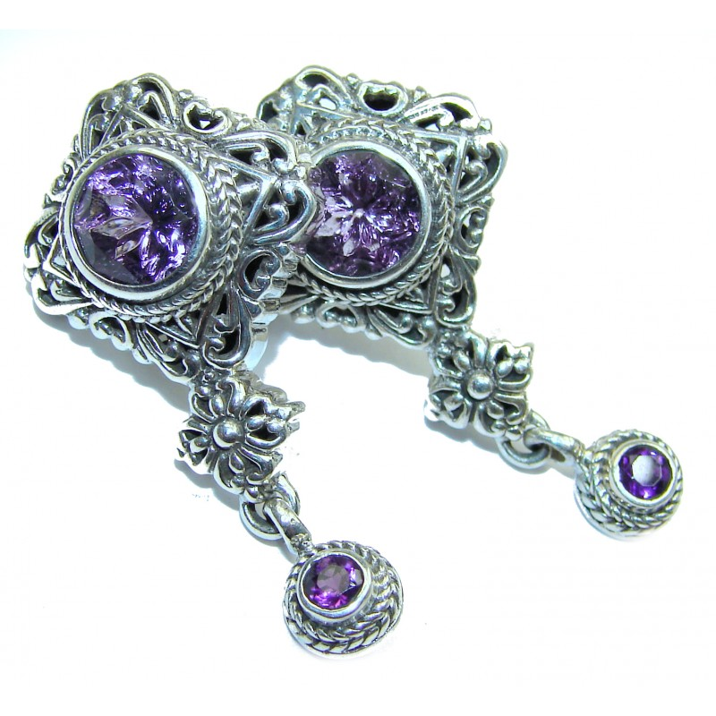 Rich Design Amethyst .925 Sterling Silver handcrafted earrings