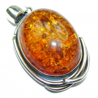 Natural Baltic Amber .925 Sterling Silver handmade Pendant