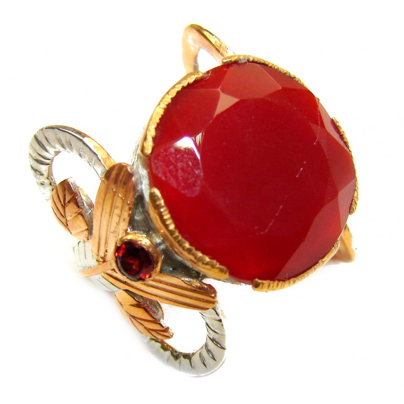 Genuine Carnelian 14K Gold over .925 Sterling Silver handmade Ring Size 6