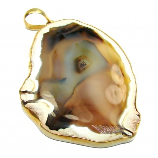 Huge 48.8 grams! Botswana Agate Gold over Sterling Silver handcrafted Pendant