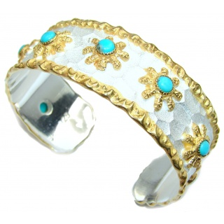 Bracelet with Sleeping Beauty Turquoise 24K Gold .925 Sterling Silver