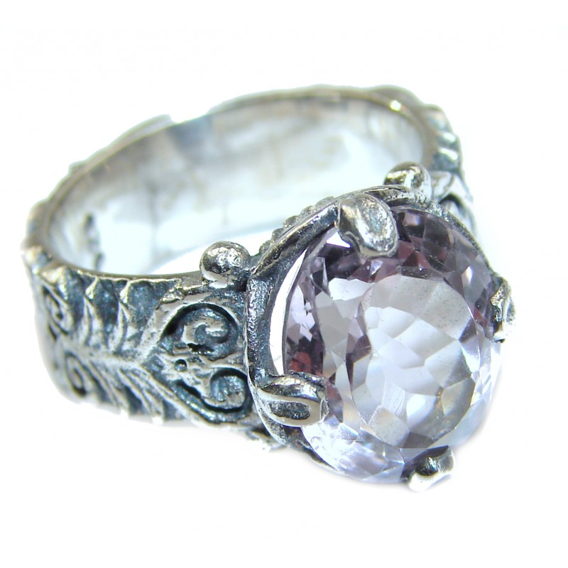 Spectacular genuine Pink Amethyst .925 Sterling Silver handcrafted Ring size 6