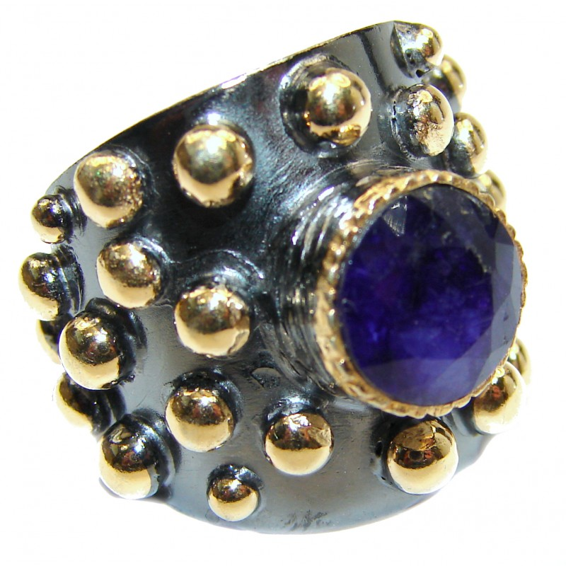 Vintage Style Sapphire 14K Gold over .925 Sterling Silver handcrafted ring; s. 6