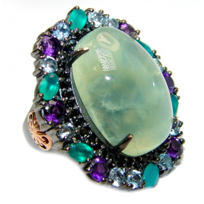 Natural Prehnite Emerald Black Rhodium over .925 Sterling Silver handcrafted Ring s. 8