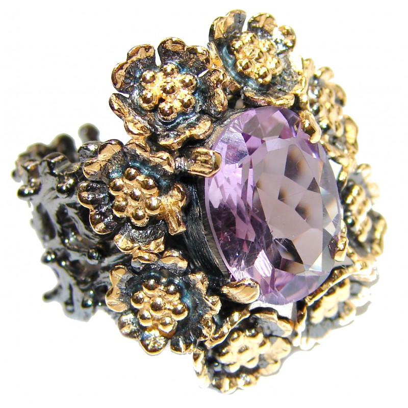 Floral design genuine Amethyst .925 Sterling Silver handcrafted Ring size 6 1/2