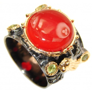 Genuine Carnelian 14K Gold over .925 Sterling Silver handmade Ring Size 8 1/2
