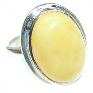 Genuine Butterscotch Baltic Amber .925 Sterling Silver handmade Ring size 8 1/4