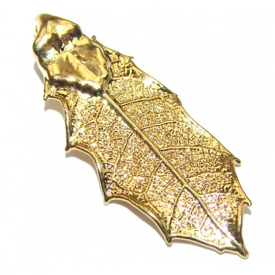 Stylish Deeped In GOLD Leaves Sterling Silver Pendant