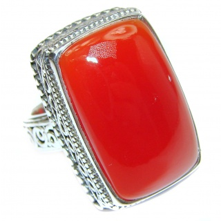 LARGE Genuine Carnelian .925 Sterling Silver handmade Ring Size 7