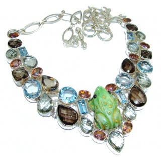 Lucky Frog Natural Multigem .925 Sterling Silver handcarfted Necklace