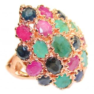 Large Authentic Ruby & Emerald Rose Gold over .925 Sterling Silver ring; s. 8 1/4