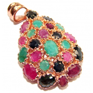 Vintage Design Ruby Emerald 18k Gold over .925 Sterling Silver handmade Pendant