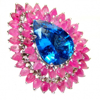 Incredible 25ct London Blue Topaz Ruby .925 Sterling Silver Statement Ring s. 7