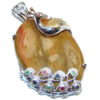 Incredible Peacock Red Creek Jasper .925 Sterling Silver handmade Pendant
