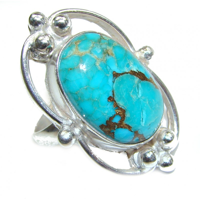 Genuine Turquoise .925 Sterling Silver handcrafted Ring size 6