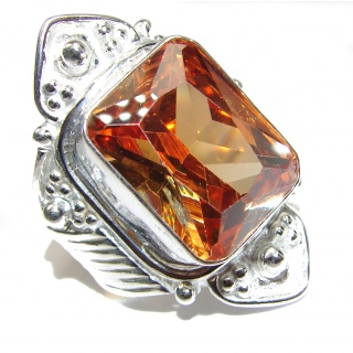Golden Cubic Zirconia .925 Sterling Silver handmade Ring s. 11
