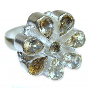 Vintage Style Natural Citrine .925 Sterling Silver handcrafted Ring s. 8 3/4