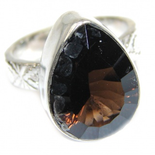 Authentic Smoky Topaz .925 Sterling Silver handcrafted ring; s 6 3/4