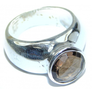 Authentic Smoky Topaz .925 Sterling Silver handcrafted ring; s 8