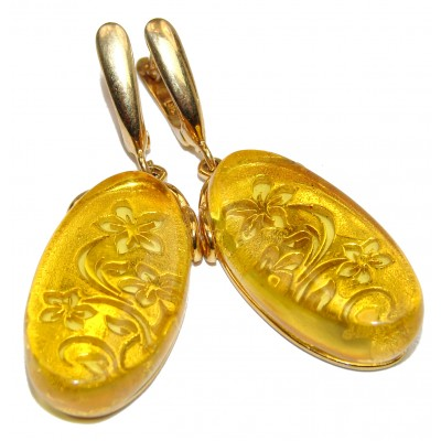 Exclusive Polish Amber 18K Gold over .925 Sterling Silver handmade Earrings