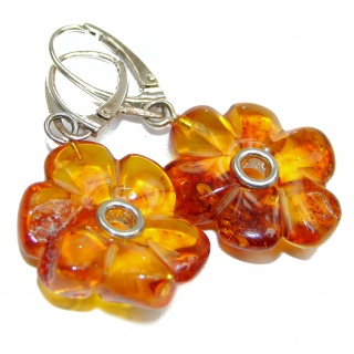 Authentic CARVED Baltic Amber .925 Sterling Silver handmade Earrings