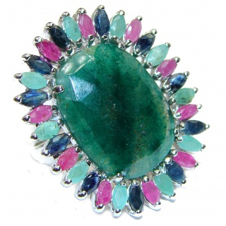 Large Authentic Emerald .925 Sterling Silver Statement ring; s. 9