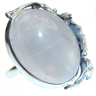 Large Authentic Rose Quartz .925 Sterling Silver handcrafted ring s. 8 adjustable