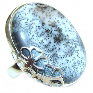 Top Quality Dendritic Agate .925 Sterling Silver hancrafted Ring s. 7 adjustable