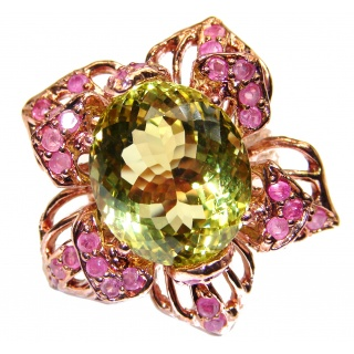 Vintage Style Natural Citrine Sapphire Rose Gold over .925 Sterling Silver handcrafted Ring s. 8