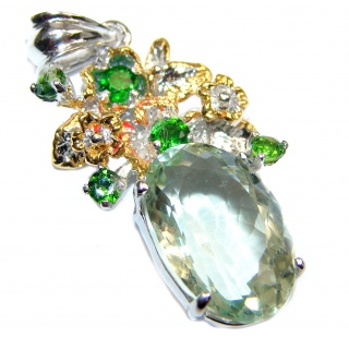 Green Amethyst Gold over .925 Sterling Silver handcrafted pendant