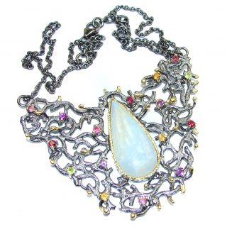 Golden Reef Fire Moonstone 18K Gold over .925 Sterling Silver handcrafted necklace