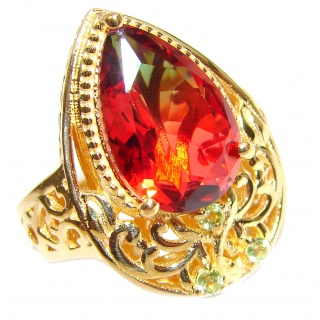 HUGE Top Quality Magic Tourmaline 18K Gold over .925 Sterling Silver handcrafted Ring s. 6 1/2