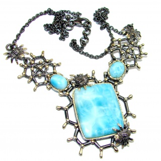 Great Masterpiece genuine Larimar Black Rhodium over .925 Sterling Silver handmade necklace