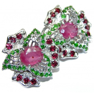 Spectacular genuine Ruby Emerald .925 Sterling Silver handcrafted Statement earrings