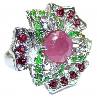 Incredible genuine Ruby .925 Sterling Silver Statement Ring s. 7