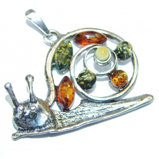 Snail Design Polish Amber .925 Sterling Silver handcrafted Pendant