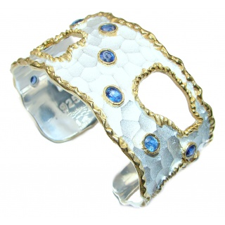 Bracelet with authentic Blue Kyanite 24K gold and Silver in Antique White Patina