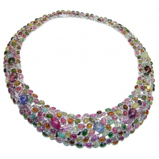 large 633ctw( total carat weight) Watermelon Tourmaline .925 Sterling Silver handcrafted Statement necklace