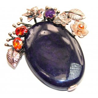 Perfect quality Sugilite Rose Gold over .925 Sterling Silver Handmade Pendant
