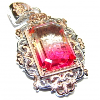 Deluxe Emerald cut Pink Topaz 18K Gold over .925 Sterling Silver handmade Pendant