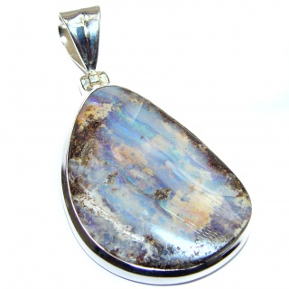 Perfection Authentic Australian Boulder Opal .925 Sterling Silver handmade Pendant