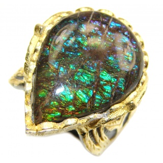 Pure Energy Genuine Canadian Ammolite 18K Gold over .925 Sterling Silver handmade ring size 5 3/4