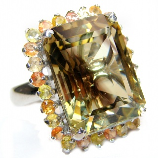 Huge Baquette cut Natural Fluorite 18K Gold over .925 Sterling Silver ring s. 8 1/4