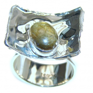 Blue Aura Fire Labradorite hammered Sterling Silver ring size 6